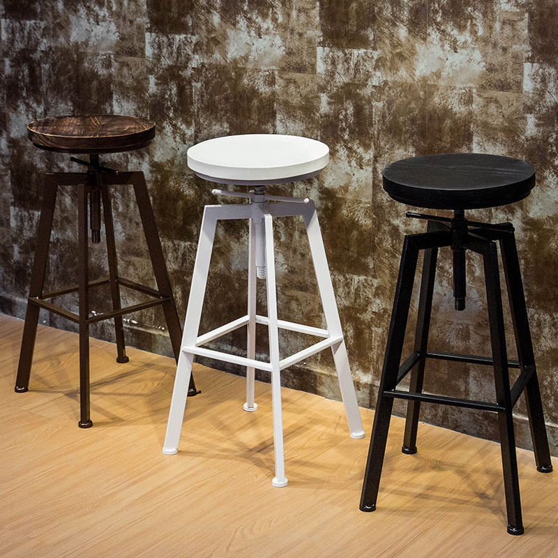 1pcs New Retro Round Wood Metal Stools Height Adjustable