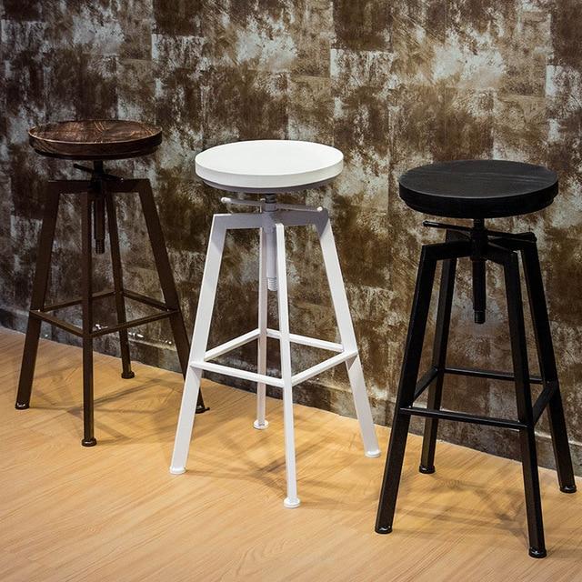 1pcs New Retro Round Wood Metal Stools Height Adjustable Bar Stools