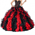 Vestidos de Quinceanera querida vermelho e preto Vestido para 16 anos Vestido Longo Organza vestidos Quinceanera Vestido de baile
