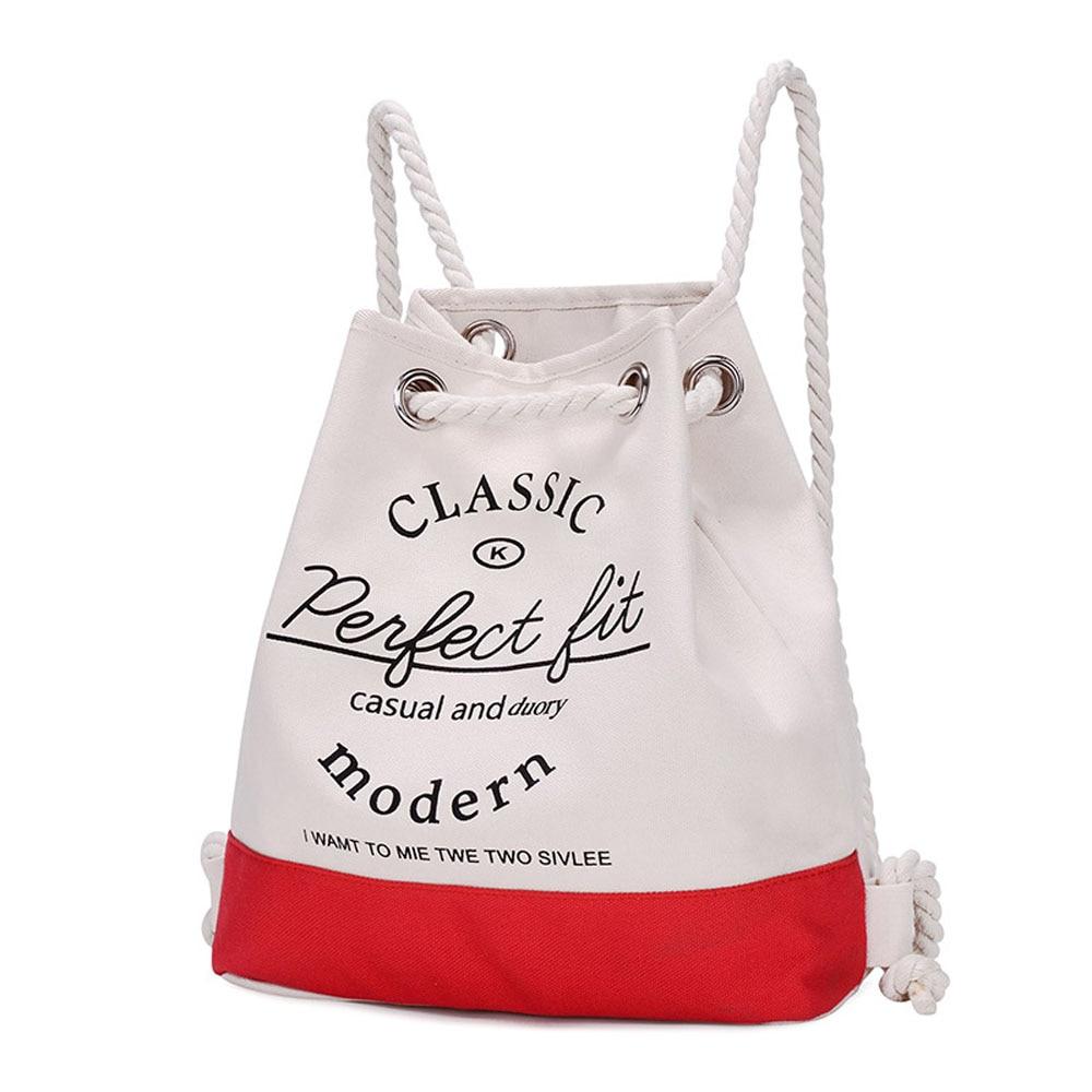 Fashion Women Outside Travel Canvas Backpack Letter Print Lovely Girl Shoulder Bag Large Capacity Tote