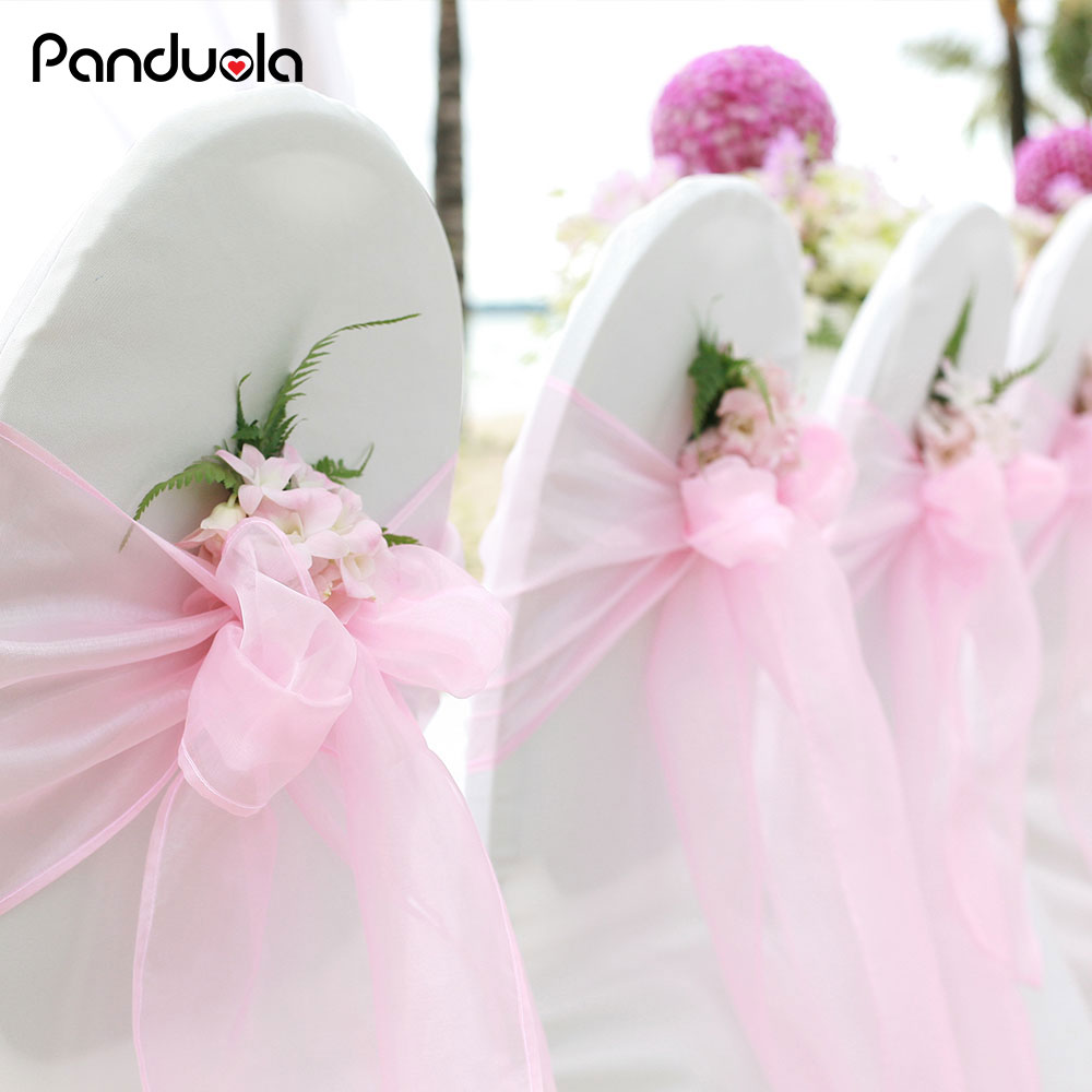 2pcs Sheer Organza Chair Sash Bow For Cover Banquet  Wedding Decoration Birthday Chair Sashes Organza Bow Wedding Chair Knot