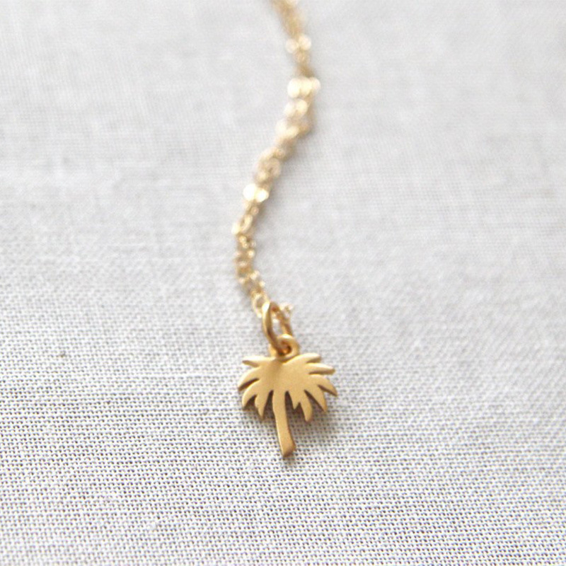 New Fashion Gold Silver Palm Tree Necklace Pendant Charm Women Trendy Long Chain Statement Necklace Collares Jewelry in Pendant Necklaces from Jewelry Accessories