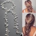 Banquete de boda romántica diadema de perlas de cristal de plata trenzado de punto hecho a mano hairband nupcial de la novia de accesorios para el cabello
