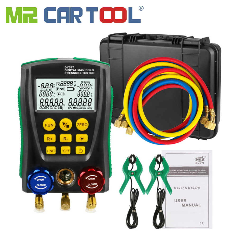 цена Refrigerantion Digital Manifold Gauge Meter HVAC Vacuum Pressure Temperature Tester Kit with Test Clip and Pipe