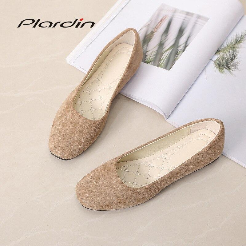 d2b08fd6c Plardin/2019 г. модная женская обувь из флока на плоской подошве, новая  летняя