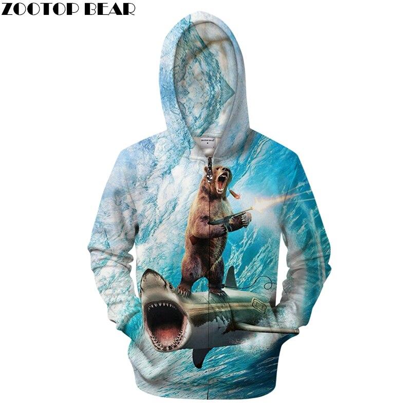 War Gun Russia Sweatshirts Hooded Brand Bear Mens Clothing Hip Hop Style Bear Printed 3D Men Zipper Hoodie Fashion Zip Jacket