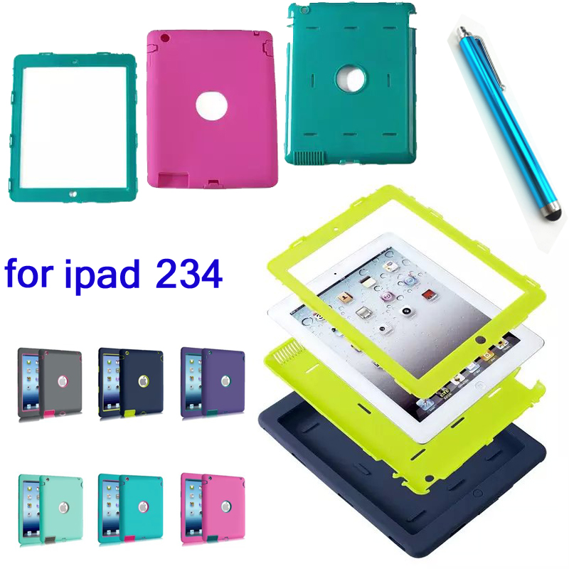 HOT!high Quality 3in1 Heavy Armor Fashion Shockproof Silicone Cover Case For Ipad 2 Ipad