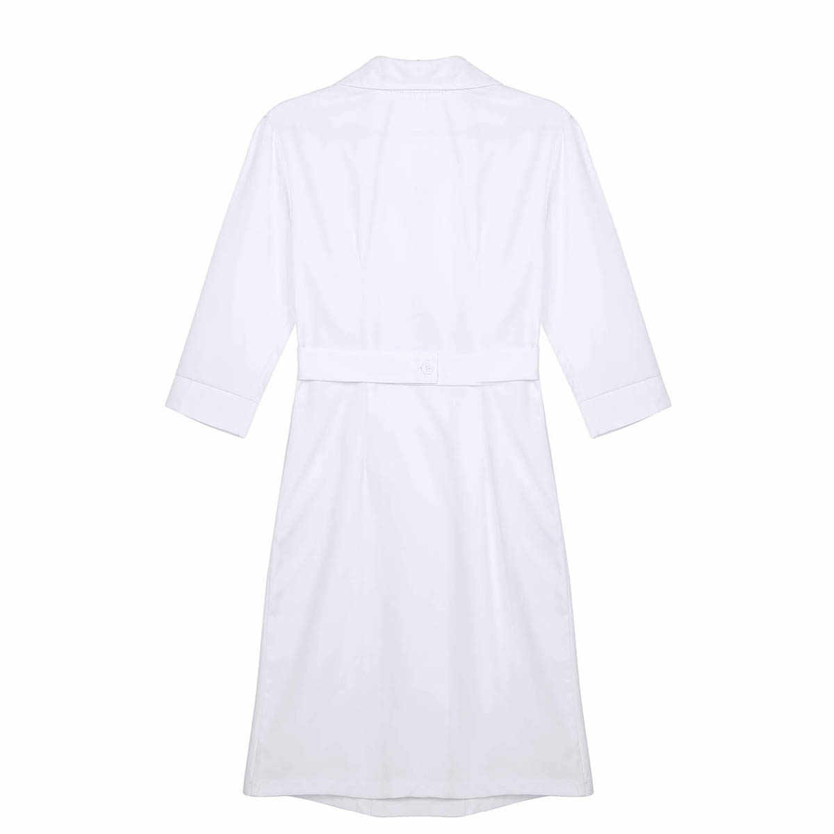 TiaoBug נשים למבוגרים מעבדה רפואי שירותי מעיל רופא תלבושות דש צווארון הברך אורך לבן Slim סקסי אחות אחיד שמלה