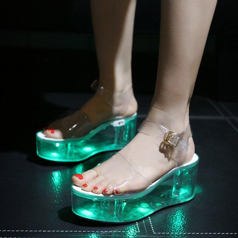 Sexy Ladies Shoes Woman Sandals Summer Women Shoes Flat Sandals Luminous Thick Bottom Transparent Beach Shoes Platform Sandalias