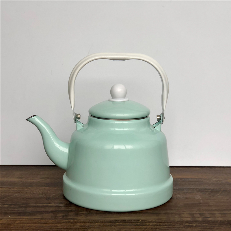 Japanese style porcelain enamel ancient bell pot cool peppermint green restaurant pouring cooking water teapot retro tea kettle