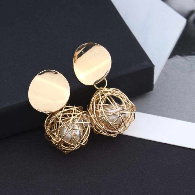 New Fashion Statement Earrings 2019 Gold Ball Geometric Earrings For Women Hanging Dangle Earrings Drop Earing Modern Jewelry