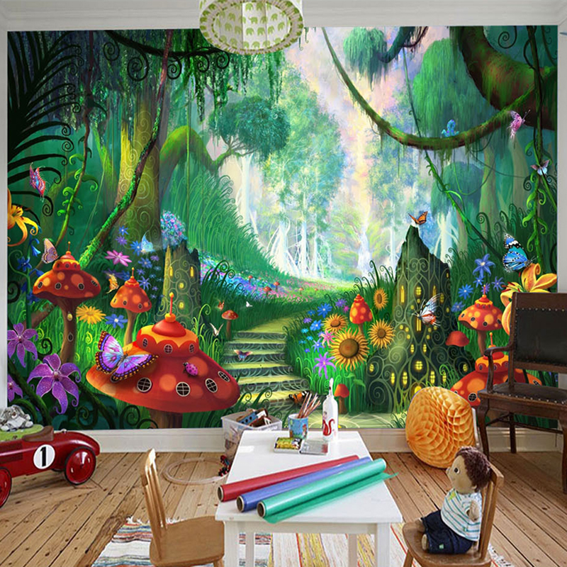 Custom Mural Wallpaper 3d Cartoon Fairy Forest Mushroom Path Wall Painting Children Kids Bedroom Eco Friendly Photo Wall Papers