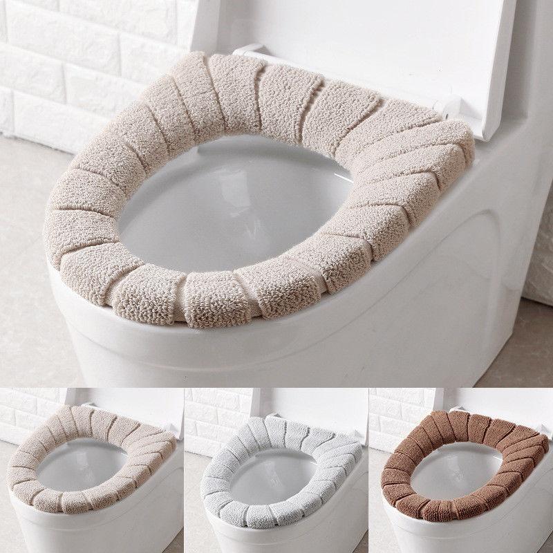 Winter Comfortable Velvet Coral Toilet Seat Pads Standard Pumpkin Pattern Washable Cushion Pads Lid Bathroom Closestool Mat toilet seat