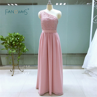Tanie Custom made długie Suknie Druhna Szyfonu Jedno Ramię Dziewczyna Wedding Party Wear Sukienka Party Dress Women IDOB09