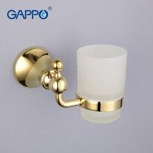 Gappo 1 комплект цинковый сплав подстаканник Стекло чашки настенный Аксессуары для ванной комнаты один Зубная щётка чашка зуб holderG1406