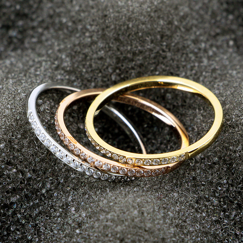 Trendy Women Ring Rose Gold Cubic Zirconia Stainless Steel Rings Lady Wedding Bands