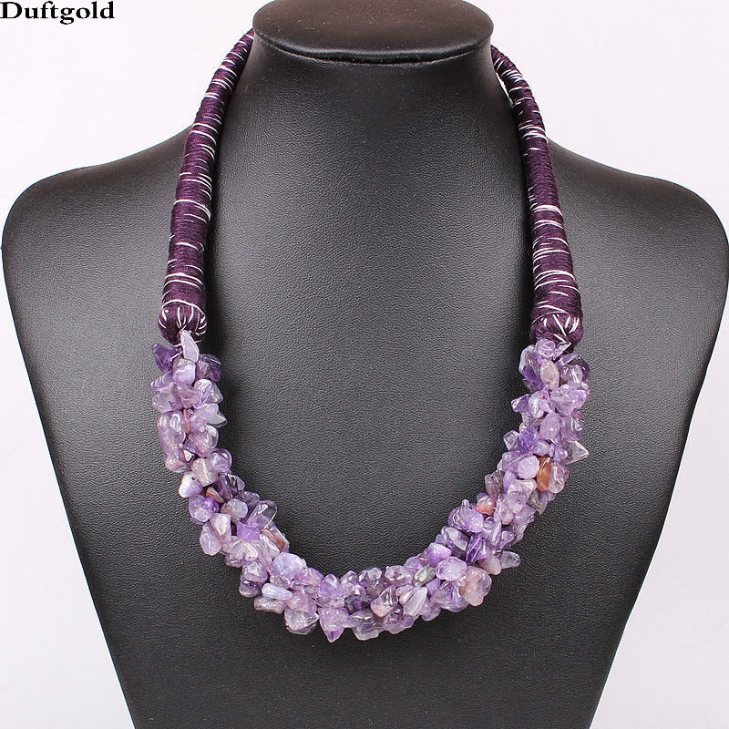 Luxury Handmade Natural Stone Pendant Statement Necklace For Women Jewelry Tiger Eye Sto ...