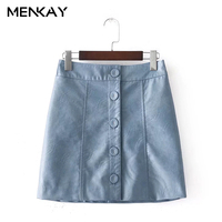 MENKAY European And American Style 2018 Spring New Fashion Wild High Waist Slim Thin Breasted