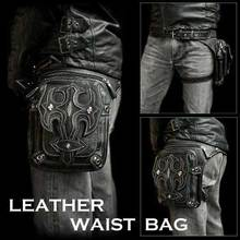 Steam punk general mobile phone bag mini leg bag travel men women's handbag Retro Rock Gothic leather waist bag packs