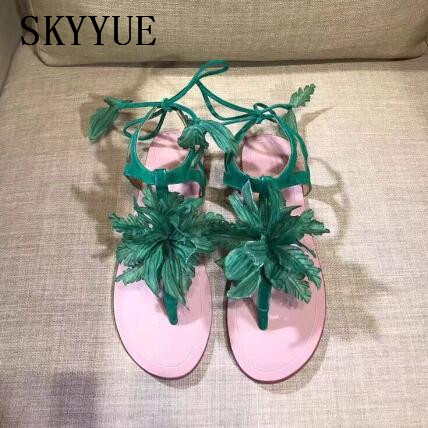 2018 New Genuine Leather Rome Gladiator Lace Up Floral Women Summer Sandals Open Toe Women Flats Sandals Shoes Women 2018 new women summer pierced genuine leather shoes women open toe comfortable sandals women summer flats plus size 35 42 q9725