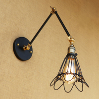 Retro American Loft Industrial wall lamp iron wire lampshade free adjust long swing arm for living room bedroom restaurant bar