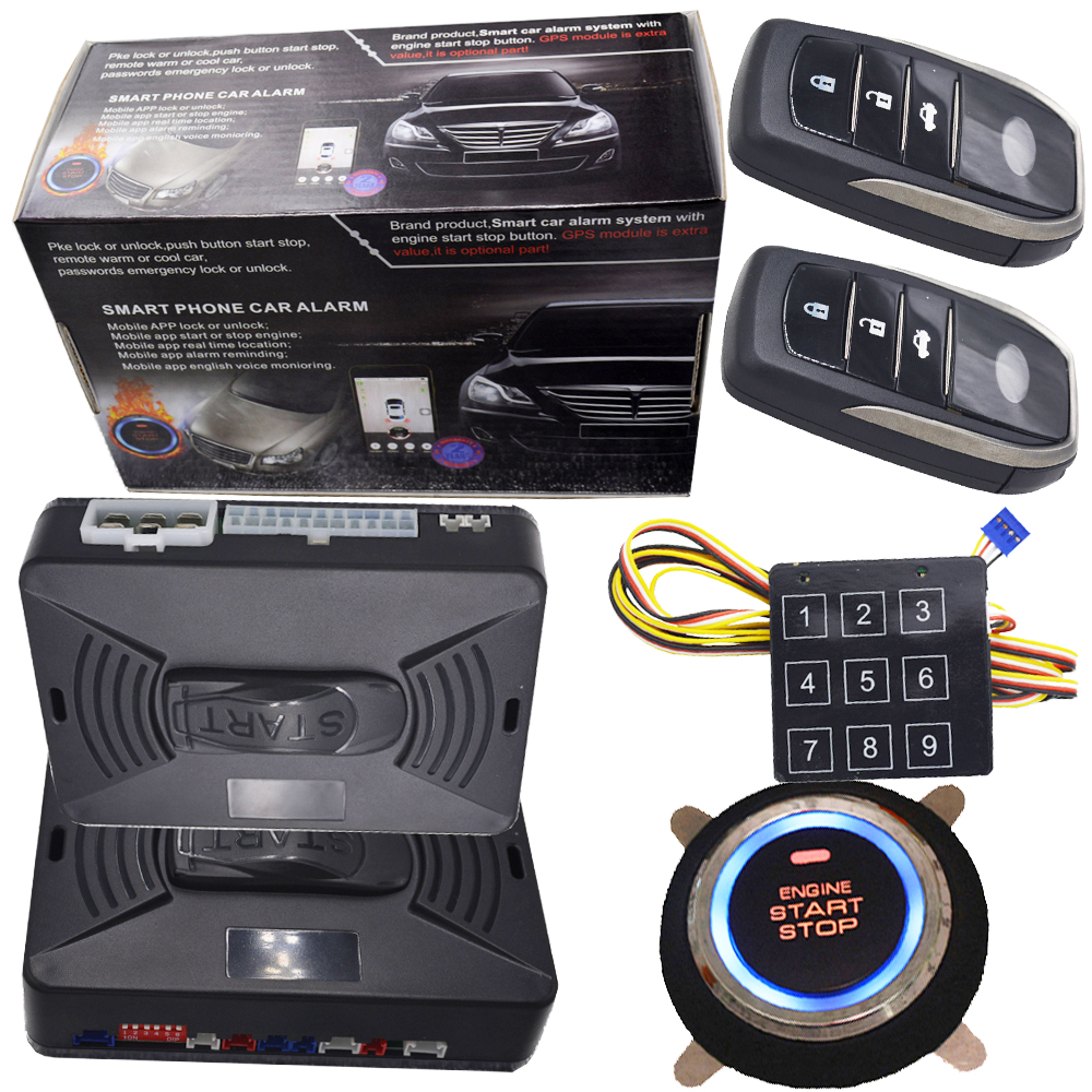 Engine Start Stop Button Car Alarm System Remote Start