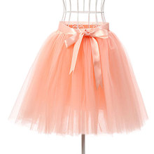 Skirts Womens 7 Layers 50 cm Midi Tulle Skirt American Apparel Tutu Skirts Women Ball Gown Party Petticoat 2017 faldas saia jupe