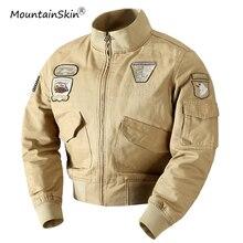 Mountainskin Для мужчин весна куртка в стиле милитари армия тактический повседневные пальто хлопок Курточка бомбер плюс Размеры 4XL Брендовая верхняя одежда LA705