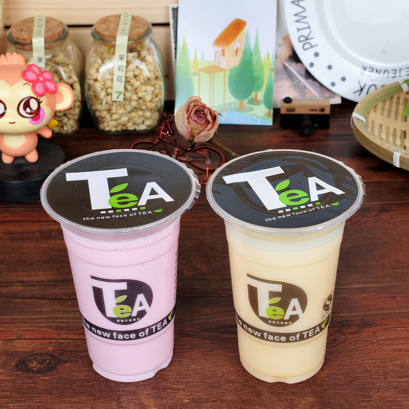1000pcs disposable thicken plastic cup,95cm diameter bubble tea plastic cup,tea pattern milk tea cup free shipping simelo natural element series jazz tea cup