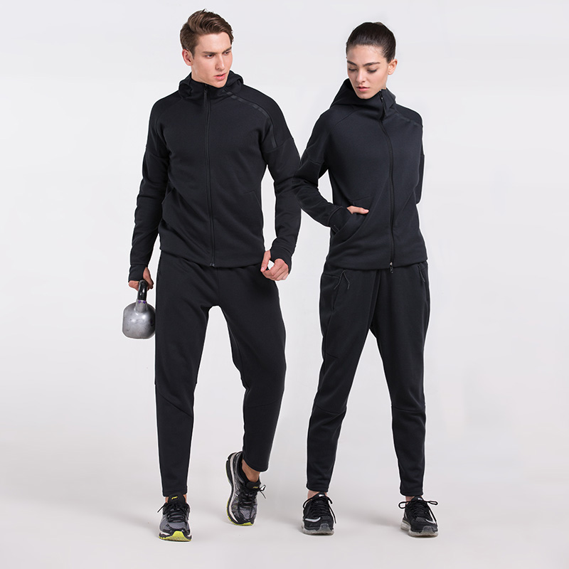 2017 New Outdoor Running Sports Suit Men Women Running Set Warm Jogging Fitness Clothes Hooded Basketball Sports Suit Sportswear