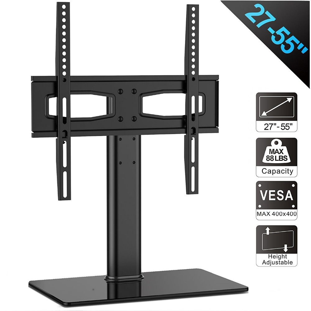 цена на FITUEYES Universal TV Stand/ Base Tabletop TV Stand with Mount for up to 55 inch Flat screen Tvs Vizio/Sumsung/TT104201GB