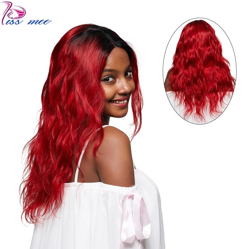 KISSMEE предварительно сорвал Ombre 1B/Натуральные Рыжие волосы парик перуанский объемная волна Синтетические волосы на кружеве парик для черный ...