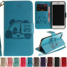 Luxury Cute Cartoon Panda Leather Flip Fundas Coque Case For Apple Iphone 5 5s SE 6 6s 6plus 6s Plus 7 7plus 7 Plus Back Cover