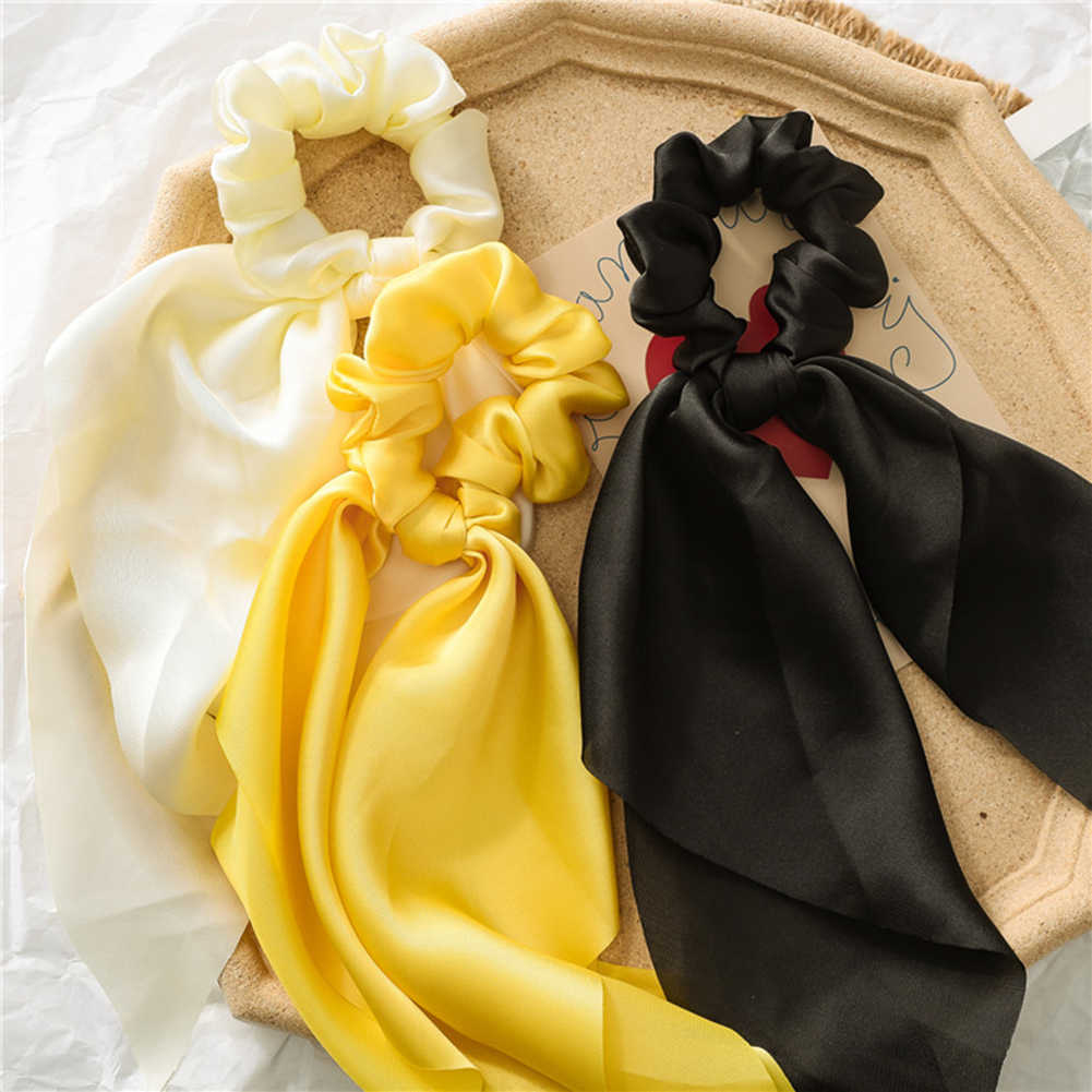 Fashion DIY Bow Streamers Elastic Hair Bands Scrunchies Solid Color Silky Satin Knotted Hair Ties Women Girls Hair Accessories