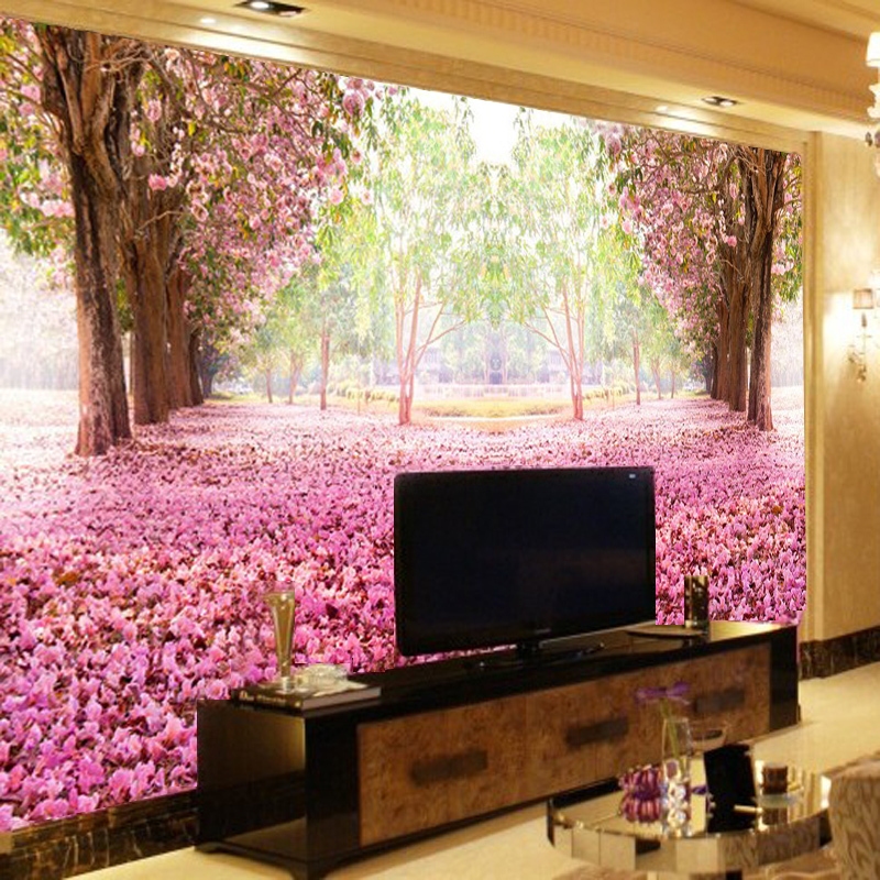 Tv backdrop romantic bedroom wallpaper murals 3d wallpaper for Images of 3d wallpaper for bedroom