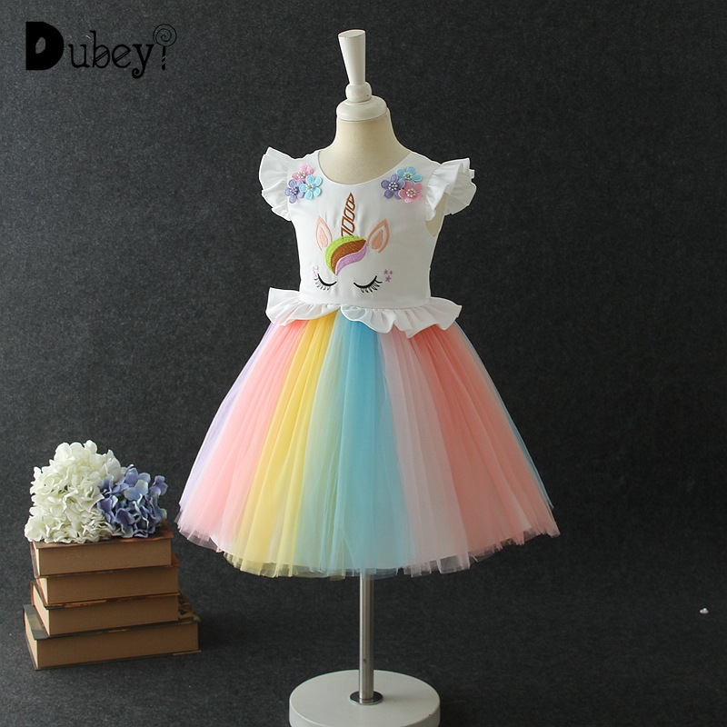 New Rainbow Tulle Embroidered Unicorn Sleeveless Dress Teenager Girl Halloween Carnival Party Cosplay Unicorn Dress daisy embroidered striped night dress