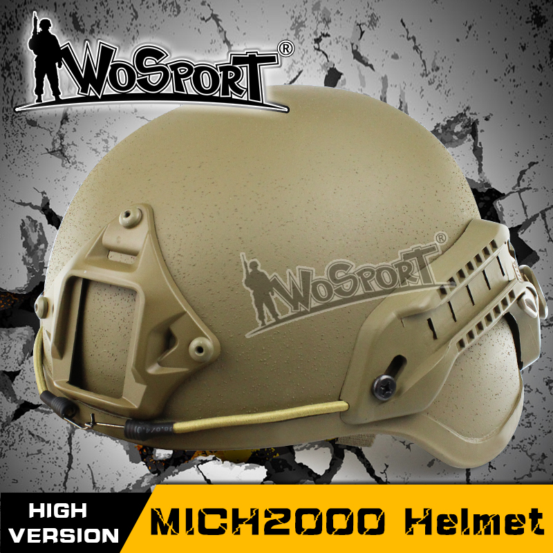 WOSPORT Tactical Emerson ACH MICH 2000 Military Helmet with NVG Mount and Side Rail for Airsoft Paintball CS Combat Helmet military m88 helmet accessory airsoft paintball combat helmet mount kit rhino nvg mount for night vision