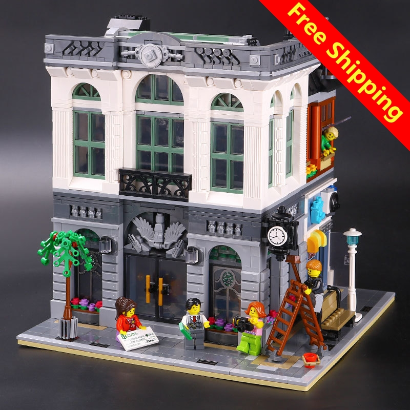 2017 New LEPIN 15001 2413Pcs Brick Bank Model LEGONE Building Kits Blocks Bricks Toy Compatible With 10251 DIY Educational Gift compatible legoed lepin 15001 city street bank model building kits blocks bricks kits education toys for children gifts 10251