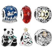 New Fit Original Pandora Bracelet Necklace DIY Women Jewelry Sliver Red glaze Bow Christmas tree Panda Love Bead Charm