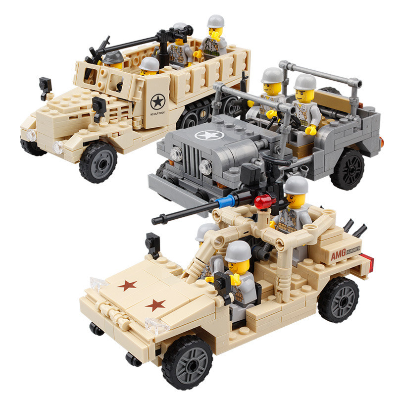 2017 New Brand Jeep Car Model Building Blocks Toy Military Truck Bricks DIY Sets Educational Toys Brinquedos for Children Age6+ 2016 new sluban 0502 building blocks 415pcs diy creative bricks toys for children educational bricks brinquedos legeod