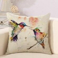 Наволочка масляная живопись Птицы цифровая печать льняная наволочка натуральные птицы краска для дома для отеля для бара декоративная Подушка Крышка