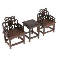 1/6 Dollhouse Retro Style Tea Table and Armchairs Set, 12inch Dolls Furniture and Accessories