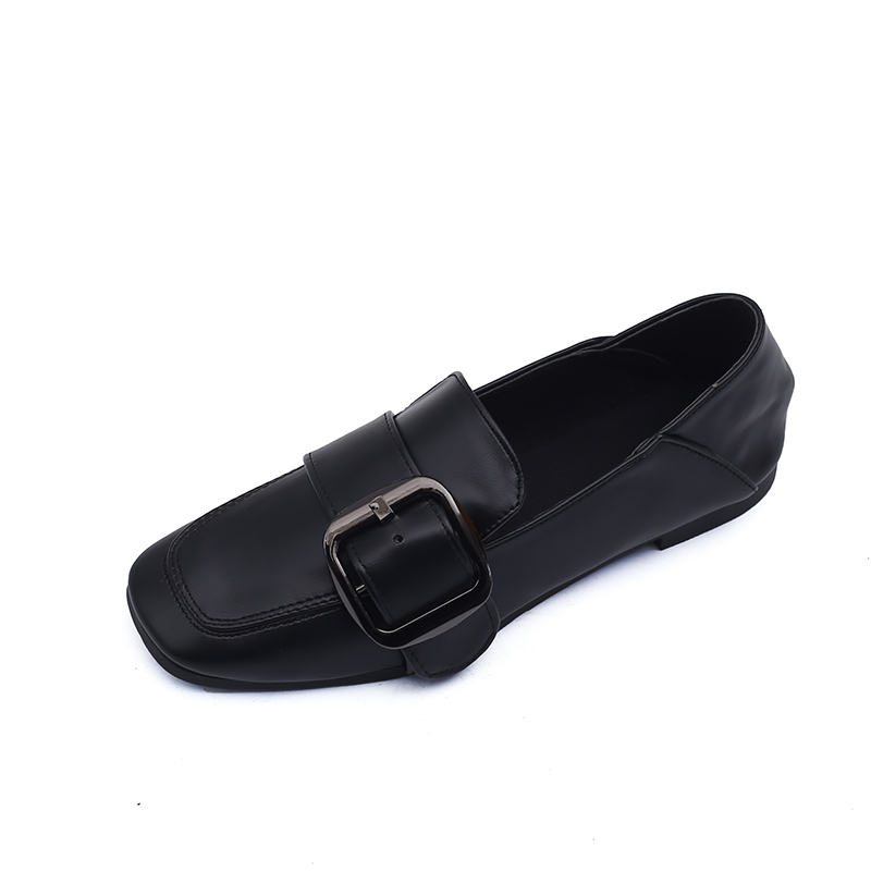 Banlieue Version Plates marron Cuir Été Noir La En Casual Carrée De Belle Pois Coréenne Femmes Nouvelle Chaussures Tête Simples Sauvages FFCwTqxX