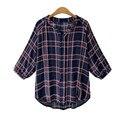 Мода Плед Блузки 2017 Случайные Популярные Женщины Осень Рубашки Дамы Три Четверти Рукав V Шея Свободные Blusas Плюс Размер
