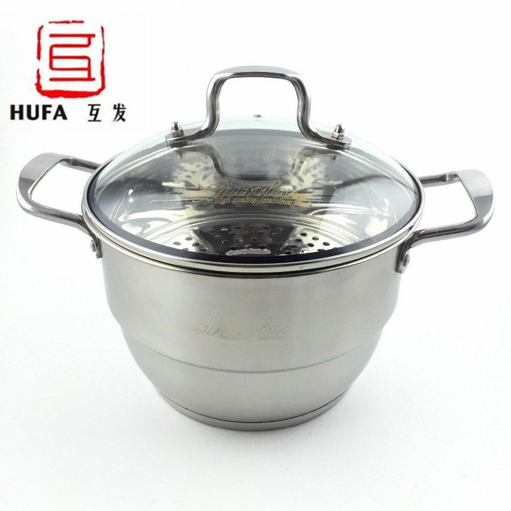 ᗐ24 cm sopa de olla de acero inoxidable/no magnético de múltiples ...