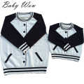 Western Style Newborn Baby Sweaters False Cardigan Baseball Sports Pullover Matching Family Outfits Mom Children Clothe tyh20424
