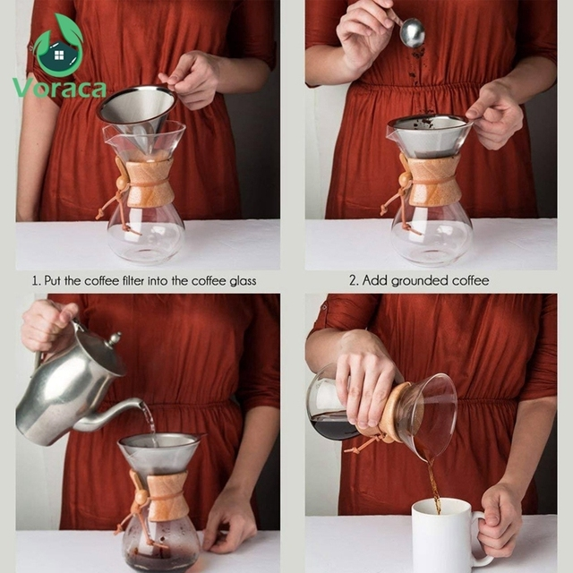 400ml Glass Coffee Pour Over Pot with Stainless Steel Filter 4