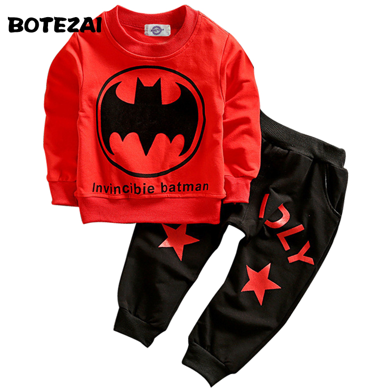 Batman Children Boys Clothing Set Long Sleeve Baby Boy Casual Sports Suits Kids 2pcs Sets Spring Autumn Clothes Tracksuits  casual kids clothes boys girls clothing sets sports autumn 2017 2pcs girl tracksuit hooded boy set long sleeve children suit