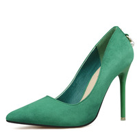 2017 Women Pumps Sexy High Heels Shoes Fashion Pointed Toe Wedding Shallow Mouth Pointed Green Classics