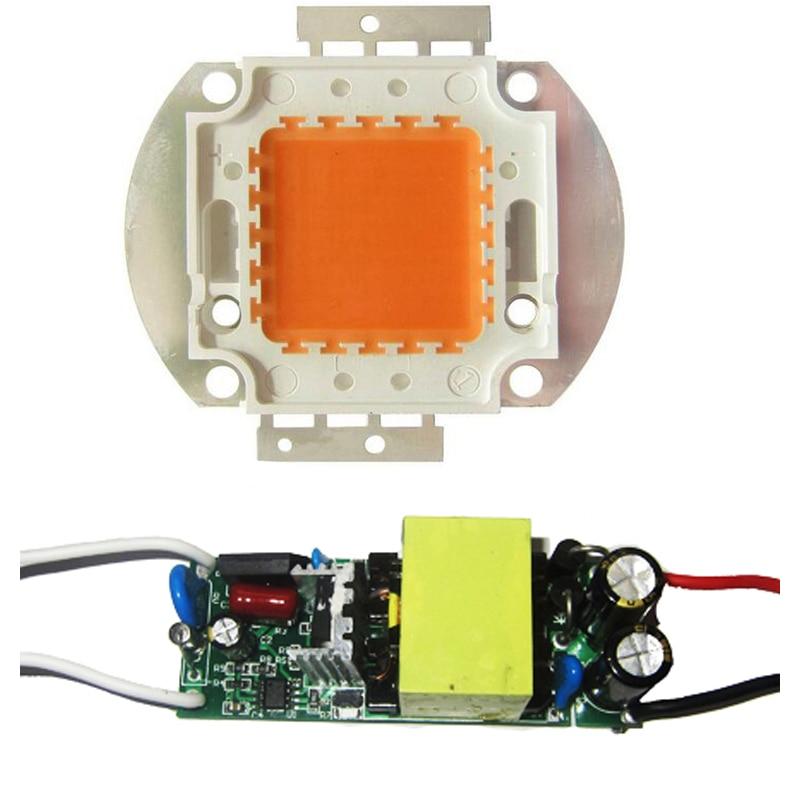 Высокая Мощность 45mil 50 Вт полный спектр 400nm ~ 840nm SMD LED бисера чип свет лампы для растений расти + не Водонепроницаемый AC 85 ~ 265 В светодиодный дра...